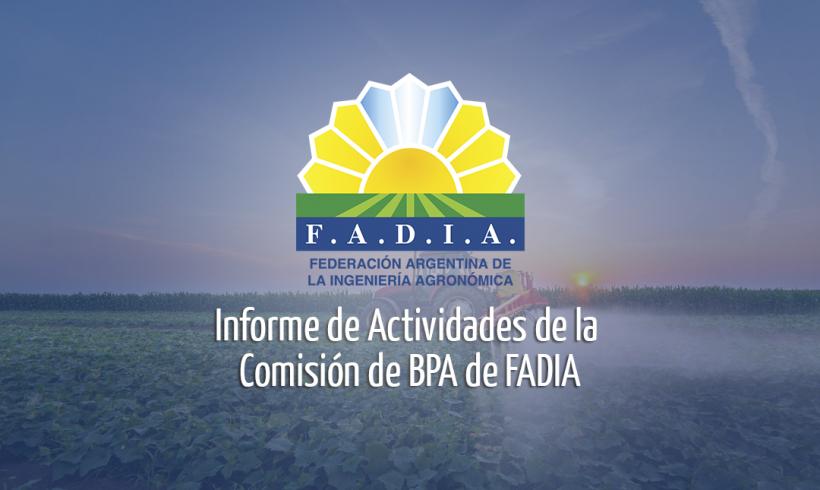 Informe de Actividades de la Comisión de BPA de FADIA